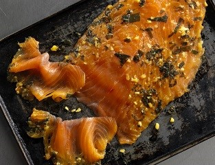 Smoked Salmon Side with Yuzu, Ginger & Shiso (chilled)